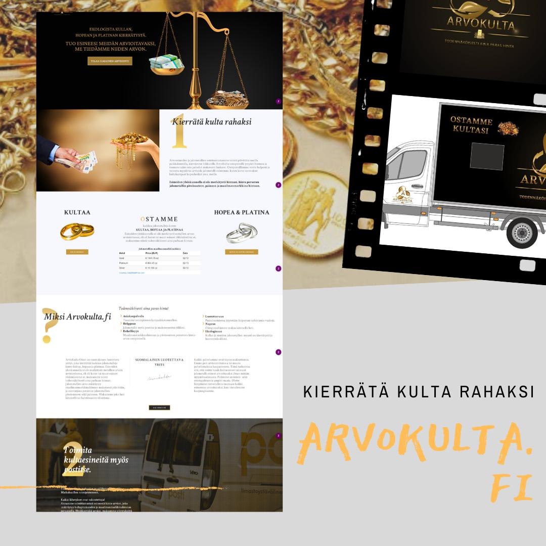 Arvokulta.fi kotisivu